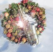 Alto Sax and Christmas Wreath in the Snow v2