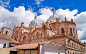 picture of conquistadors  - New cathedral in Cuenca with blue sky - JPG