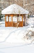 Summerhouse In Park In Winter