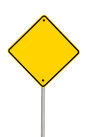 stock photo of warning-signs  - Blank yellow road warning sign  - JPG