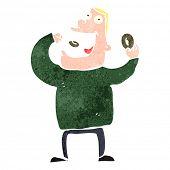 stock photo of greedy  - retro cartoon greedy man eating donuts - JPG