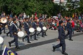 KUALA LUMPUR - AUGUST 31: Drummers and musicians from the Malaysian Armed Forces march on the city s