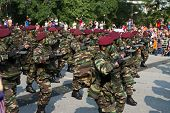 KUALA LUMPUR - AUGUST 31: Paratroopers in maroon beret from the 10th Airborne Brigade march on the c