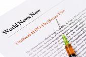 Outbreak Swine Flu Newspaper Headline With Syringe