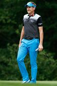 NORTON, MA-SEP 1: Ian Poulter smiles as he walks off the fifth green during the third round at the Deutsche Bank Championship at TPC Boston on September 1, 2013 in Norton, Massachusetts.