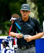 NORTON, MA-SEP 1: Kevin Chappell waits to tee off the fourth hole during the third round at the Deut