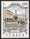ITALY - CIRCA 1979: a stamp printed in Italy shows Fontana della Fortuna (Luck Fountain), built in the 16th century in Fano. Italy, circa 1979