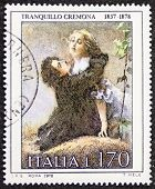 ITALY -CIRCA 1978: a stamp printed in Italy celebrates the first centenary of the death of Tranquillo Cremona, famous Italian painter, showing his painting L'Edera (Ivy). Italy, circa 1978