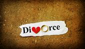 image of divorce-papers  - Paper scrap with Divorce text wedding ring and red broken heart - JPG