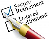stock photo of retirement  - Pen to check choice of financial investments for secure not delayed retirement plan - JPG