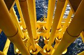 stock photo of oilfield  - pipelines in well head platform - JPG