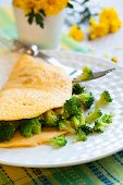 omelet with broccoli on the plate