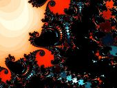 Patterned fractal background with spirals