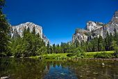 View To Western Rocket Plateau Of Yosemite National Park Seen From Beautiful Merced River