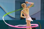 KIEV, UKRAINE - AUGUST 29: Yana Kudryavtseva of Russia in action during the 32nd Rhythmic Gymnastics