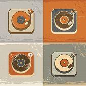 Retro record player icons