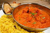 foto of curry chicken  - Chicken Tikka masala a popular indian curry developed in Europe as a fusion of Eastern food and modern western tastes - JPG