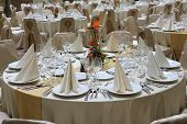 Restaurant Tables Set For Business Event