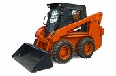 stock photo of bobcat  - Orange wheel mini excavator isolated over white - JPG
