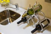 Bottles Of Wine In A Stylish Wine Rack