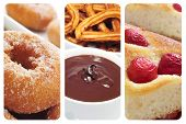 a collage with three different spanish pastries or sweet snacks, such as rosquillas, churros con chocolate and coca amb cireres