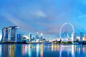 picture of singapore night  - Singapore skyline at night - JPG