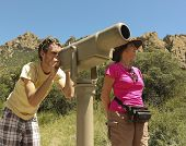 picture of fanny  - A Pair of Hikers Study the Scenery Using a Telescope - JPG
