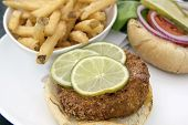 Crabcake Burger With French Fries Closeup Macro