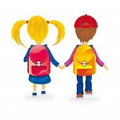 picture of playgroup  - kids go to school holding hands isolated - JPG