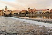 Evening Masaryk embankment,  view from the river Vltava (Prague)