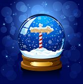 Christmas Snow globe with North pole sign