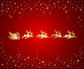 stock photo of santa sleigh  - Red Christmas background with Santa sleigh - JPG
