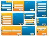 Various Blue And Orange Website Form Set