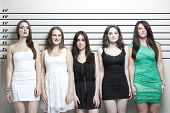picture of lineup  - Portrait of five young women in a police lineup - JPG
