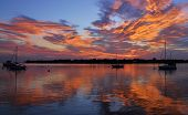 stock photo of florida-orange  - Sunrise over Matanzas Bay in the city of St - JPG