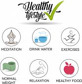 stock photo of stress relief  - Healthy lifestyle symbol collection Healthy food - JPG