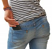 image of bare butt  - Cell smartphone in back pocket of girl - JPG