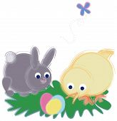 Illustrated Chick And Bunny Looking At Easter Eggs. poster