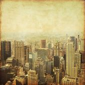 Old style photo of New York City Manhattan skyline.