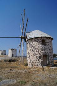 foto of gumbet  - Aegean style old mills in Bodrum Turkey - JPG