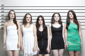 pic of lineup  - Portrait of five young women in a police lineup - JPG