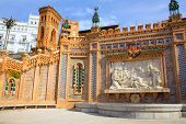 Aragon Teruel Amantes fountain in La Escalinata and Mudejar towers in Spain