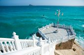 stock photo of balustrade  - Benidorm balcon del Mediterraneo and sea from white balustrade Alicante Spain - JPG