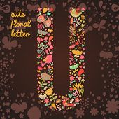 The letter U. Bright floral element of colorful alphabet made from birds, flowers, petals, hearts an