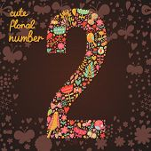 The number 2. Bright floral element of colorful alphabet made from birds, flowers, petals, hearts an