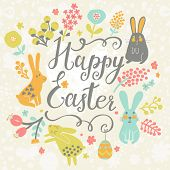 Bright happy easter card in vector. Funny rabbits, chicken, eggs in cute cartoon style. Stylish holi
