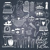 Vintage kitchen set in vector on chalkboard background. Stylish design elements: pepper-box, fork, s