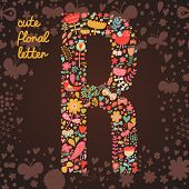 The letter R. Bright floral element of colorful alphabet made from birds, flowers, petals, hearts an