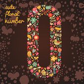 The number 0. Bright floral element of colorful alphabet made from birds, flowers, petals, hearts an