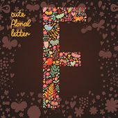 The letter F. Bright floral element of colorful alphabet made from birds, flowers, petals, hearts an